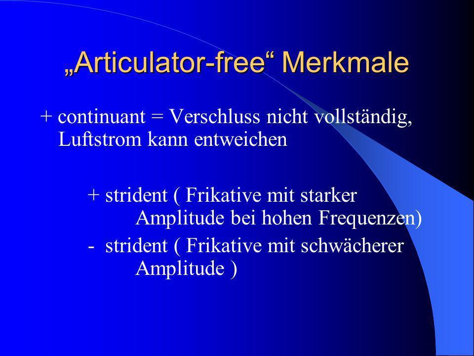 Articulator-free Merkmale + continuant = Verschluss nicht vollständig, Luftstrom kann entweichen + strident ( Frikative mit starker Amplitude bei hohen Frequenzen) - strident ( Frikative mit schwächerer Amplitude )