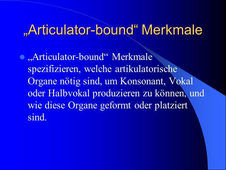 Articulator-bound Merkmale Articulator-bound Merkmale spezifizieren, welche artikulatorische Organe nötig sind, um Konsonant, Vokal oder Halbvokal pro