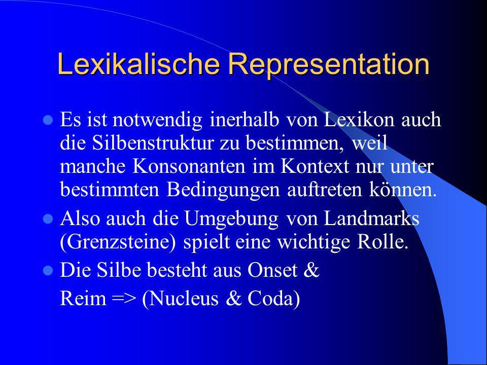 Lexikalische Representation Es ist notwendig inerhalb von Lexikon auch die Silbenstruktur zu bestimmen, weil manche Konsonanten im Kontext nur unter bestimmten Bedingungen auftreten können.