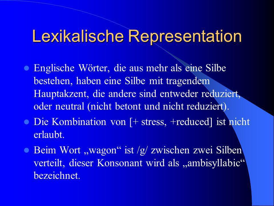 Lexikalische Representation Englische Wörter, die aus mehr als eine Silbe bestehen, haben eine Silbe mit tragendem Hauptakzent, die andere sind entwed