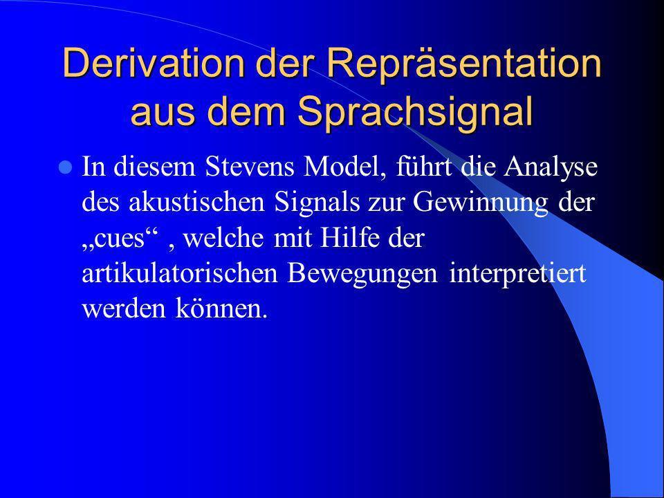 Derivation der Repräsentation aus dem Sprachsignal In diesem Stevens Model, führt die Analyse des akustischen Signals zur Gewinnung der cues, welche mit Hilfe der artikulatorischen Bewegungen interpretiert werden können.