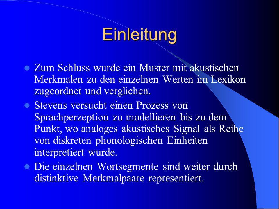 Einleitung Zum Schluss wurde ein Muster mit akustischen Merkmalen zu den einzelnen Werten im Lexikon zugeordnet und verglichen.