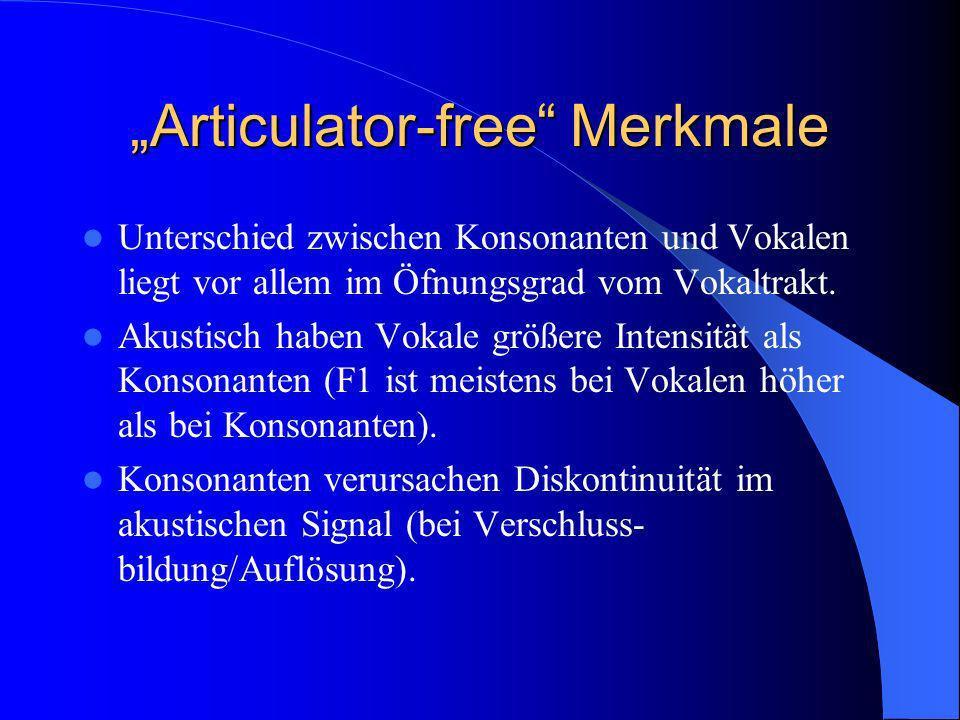 Articulator-bound Merkmale Articulator-bound Merkmale spezifizieren, welche artikulatorische Organe nötig sind, um Konsonant, Vokal oder Halbvokal produzieren zu können, und wie diese Organe geformt oder platziert sind.