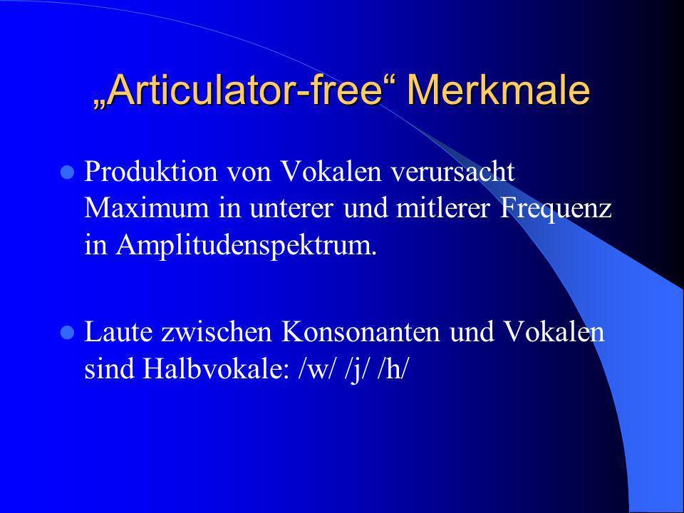 Articulator-free Merkmale Produktion von Vokalen verursacht Maximum in unterer und mitlerer Frequenz in Amplitudenspektrum. Laute zwischen Konsonanten
