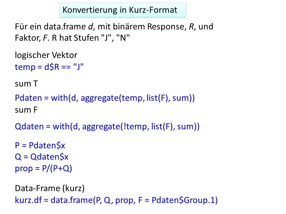 Konvertierung in Kurz-Format Für ein data.frame d, mit binärem Response, R, und Faktor, F. R hat Stufen