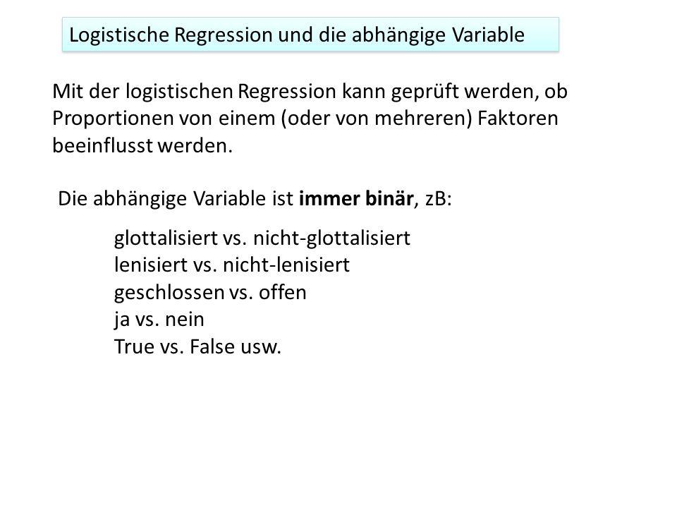 Zusätzlich werden in der logistischen Regression log-odds statt Proportionen modelliert Allgemeine Überlegungen 20 männlich, 15 weiblich Logodds(R) = log(20/15) logodds(R) = mF + b R ist der binäre Response (abhängige Variable), F ist der Faktor, m und b sind die Neigung und Intercept (y-Achse-Abschnitt) z.B.
