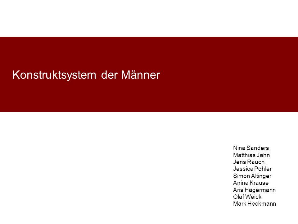 Konstruktsystem der Männer Nina Sanders Matthias Jahn Jens Rauch Jessica Pöhler Simon Altinger Anina Krause Aris Hägermann Olaf Weick Mark Heckmann