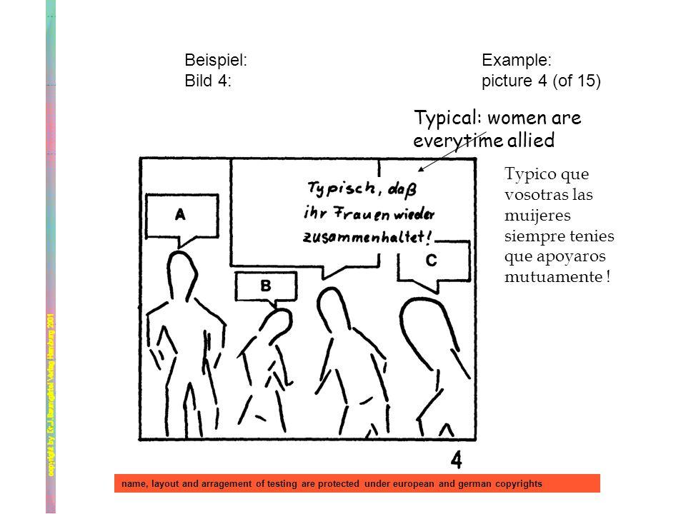Beispiel: Bild 4: Example: picture 4 (of 15) Typical: women are everytime allied Typico que vosotras las muijeres siempre tenies que apoyaros mutuamen
