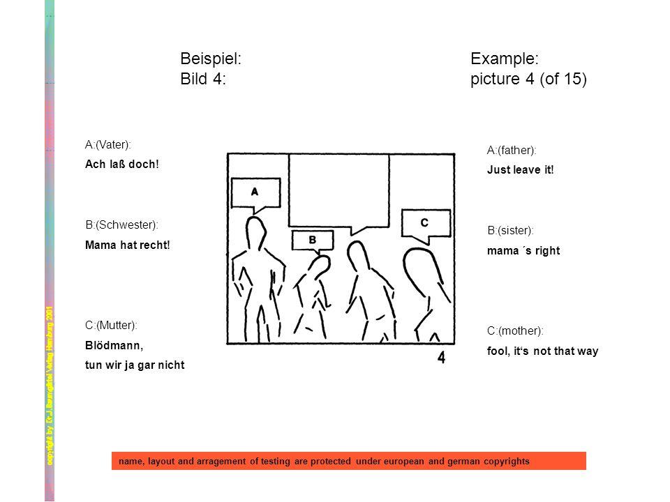 Beispiel: Bild 4: Example: picture 4 (of 15) A:(Vater): Ach laß doch! B:(Schwester): Mama hat recht! C:(Mutter): Blödmann, tun wir ja gar nicht A:(fat