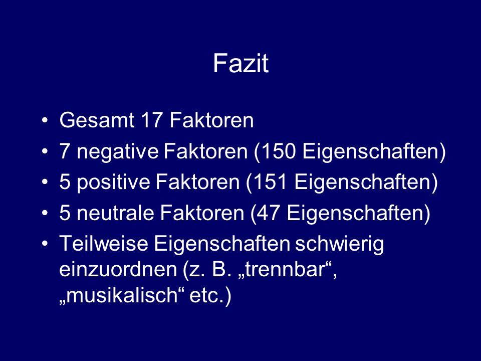 Fazit Gesamt 17 Faktoren 7 negative Faktoren (150 Eigenschaften) 5 positive Faktoren (151 Eigenschaften) 5 neutrale Faktoren (47 Eigenschaften) Teilwe