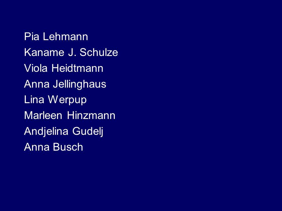 Pia Lehmann Kaname J. Schulze Viola Heidtmann Anna Jellinghaus Lina Werpup Marleen Hinzmann Andjelina Gudelj Anna Busch