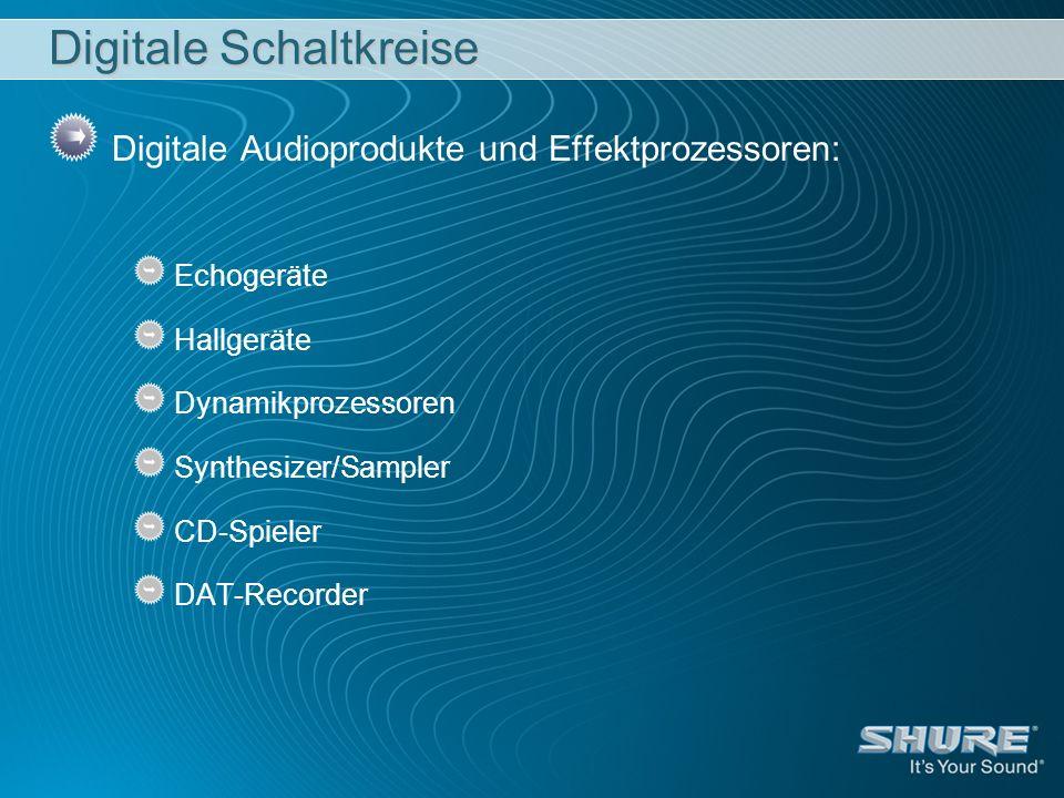 Digitale Schaltkreise Digitale Audioprodukte und Effektprozessoren: Echogeräte Hallgeräte Dynamikprozessoren Synthesizer/Sampler CD-Spieler DAT-Record