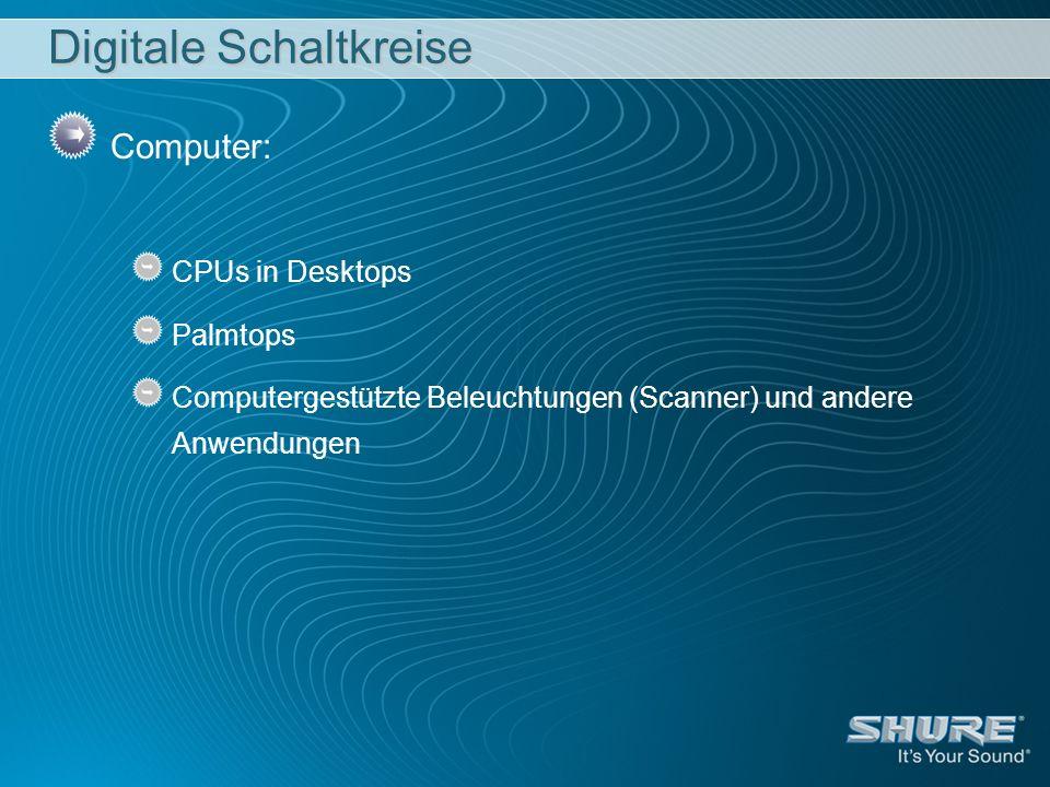 Digitale Schaltkreise Computer: CPUs in Desktops Palmtops Computergestützte Beleuchtungen (Scanner) und andere Anwendungen