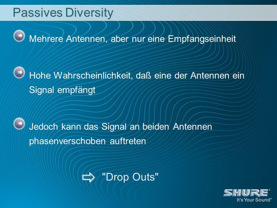 Passives Diversity Mehrere Antennen, aber nur eine Empfangseinheit Hohe Wahrscheinlichkeit, daß eine der Antennen ein Signal empfängt Jedoch kann das