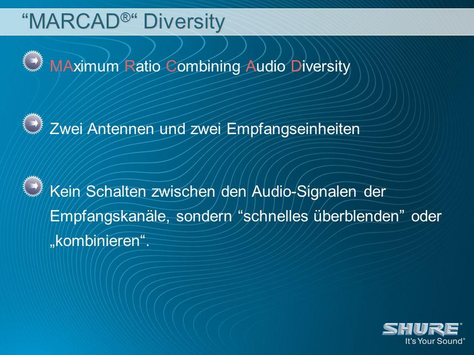 MARCAD ® Diversity MAximum Ratio Combining Audio Diversity Zwei Antennen und zwei Empfangseinheiten Kein Schalten zwischen den Audio-Signalen der Empf