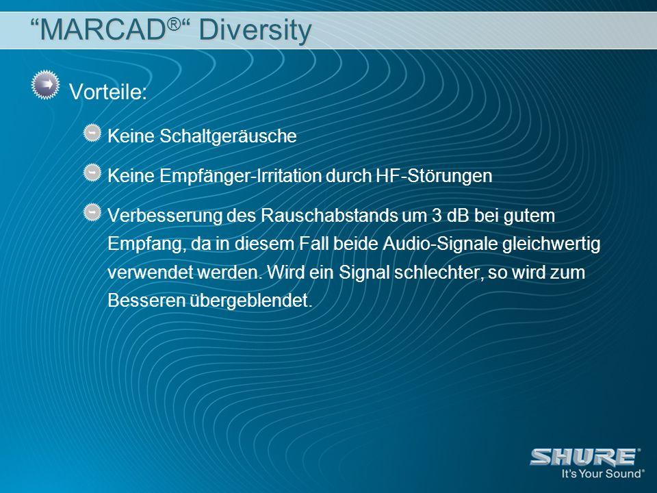 MARCAD ® Diversity Vorteile: Keine Schaltgeräusche Keine Empfänger-Irritation durch HF-Störungen Verbesserung des Rauschabstands um 3 dB bei gutem Emp