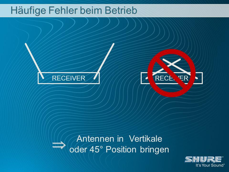 Häufige Fehler beim Betrieb RECEIVER Antennen in Vertikale oder 45° Position bringen