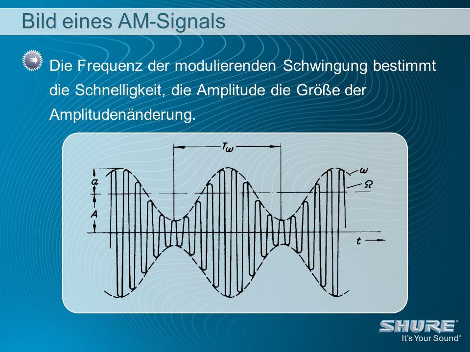 Bild eines AM-Signals Die Frequenz der modulierenden Schwingung bestimmt die Schnelligkeit, die Amplitude die Größe der Amplitudenänderung.