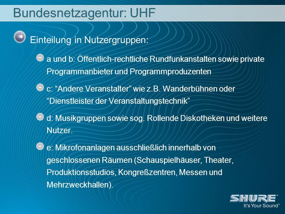 Bundesnetzagentur: UHF Einteilung in Nutzergruppen: a und b: Öffentlich-rechtliche Rundfunkanstalten sowie private Programmanbieter und Programmproduz