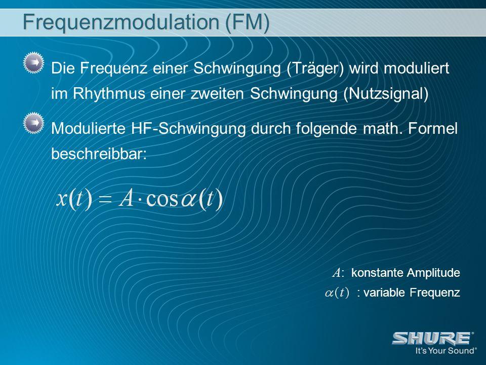 Die Frequenz einer Schwingung (Träger) wird moduliert im Rhythmus einer zweiten Schwingung (Nutzsignal) Modulierte HF-Schwingung durch folgende math.