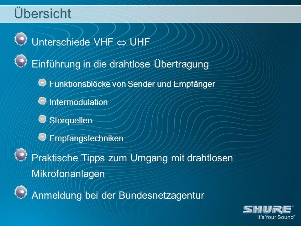 Übersicht Unterschiede VHF UHF Einführung in die drahtlose Übertragung Funktionsblöcke von Sender und Empfänger Intermodulation Störquellen Empfangste