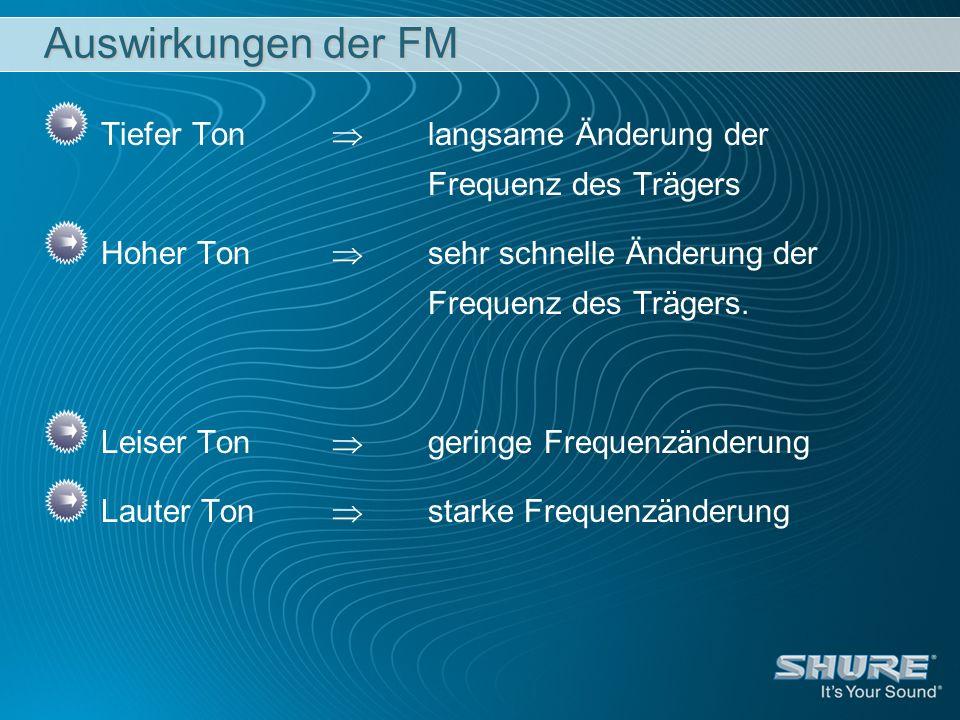 Auswirkungen der FM Tiefer Ton langsame Änderung der Frequenz des Trägers Hoher Ton sehr schnelle Änderung der Frequenz des Trägers. Leiser Ton gering