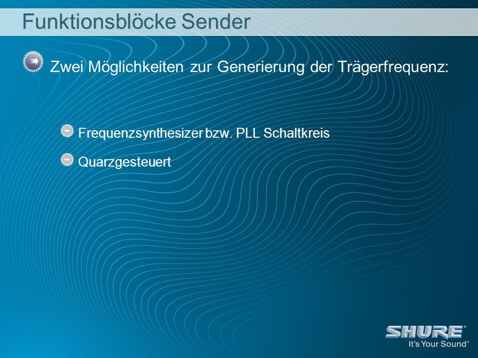 Funktionsblöcke Sender Zwei Möglichkeiten zur Generierung der Trägerfrequenz: Frequenzsynthesizer bzw. PLL Schaltkreis Quarzgesteuert