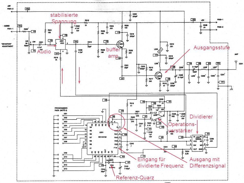 Audio stabilisierte Spannung buffer amp Ausgangsstufe Referenz-Quarz Operations- verstärker Eingang für dividierte Frequenz Ausgang mit Differenzsigna