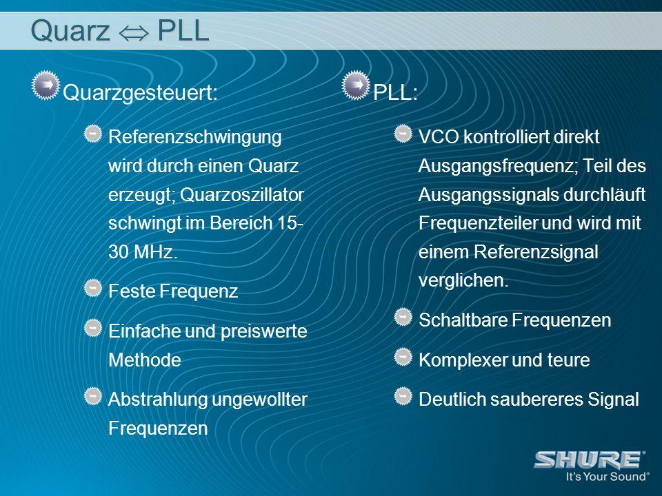 Quarz PLL Quarzgesteuert: Referenzschwingung wird durch einen Quarz erzeugt; Quarzoszillator schwingt im Bereich 15- 30 MHz. Feste Frequenz Einfache u