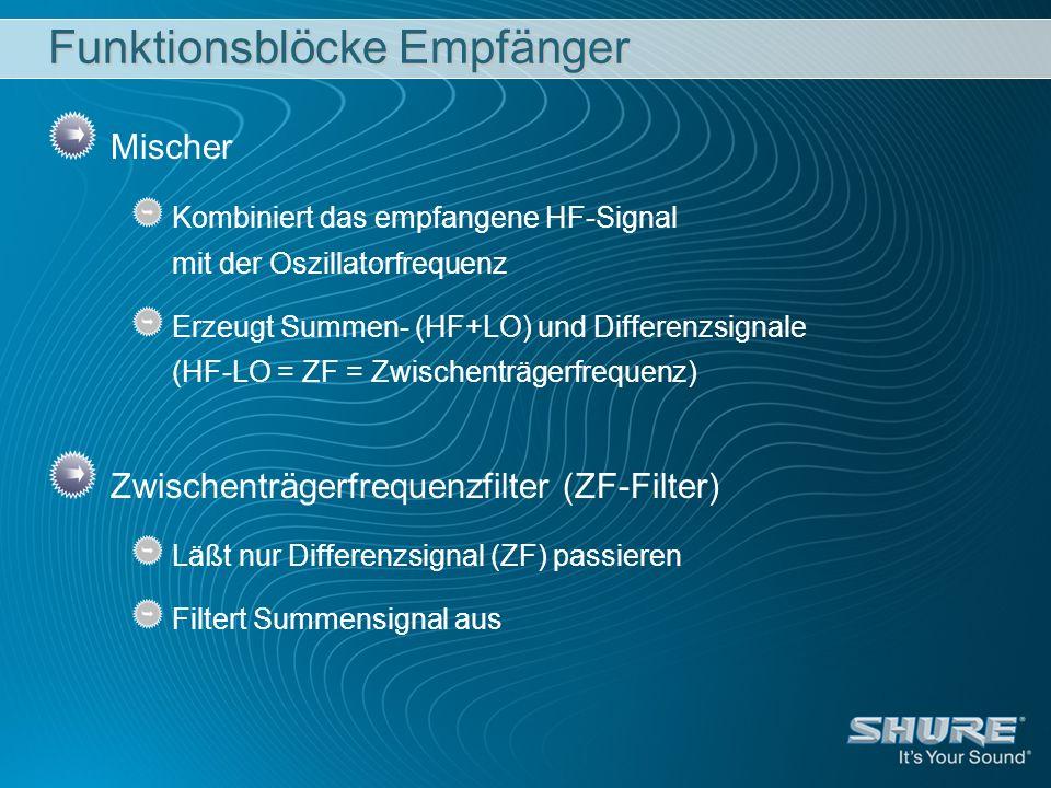 Funktionsblöcke Empfänger Mischer Kombiniert das empfangene HF-Signal mit der Oszillatorfrequenz Erzeugt Summen- (HF+LO) und Differenzsignale (HF-LO =