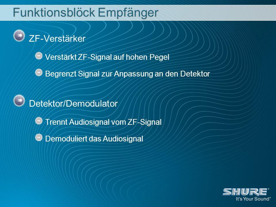 Funktionsblöck Empfänger ZF-Verstärker Verstärkt ZF-Signal auf hohen Pegel Begrenzt Signal zur Anpassung an den Detektor Detektor/Demodulator Trennt A