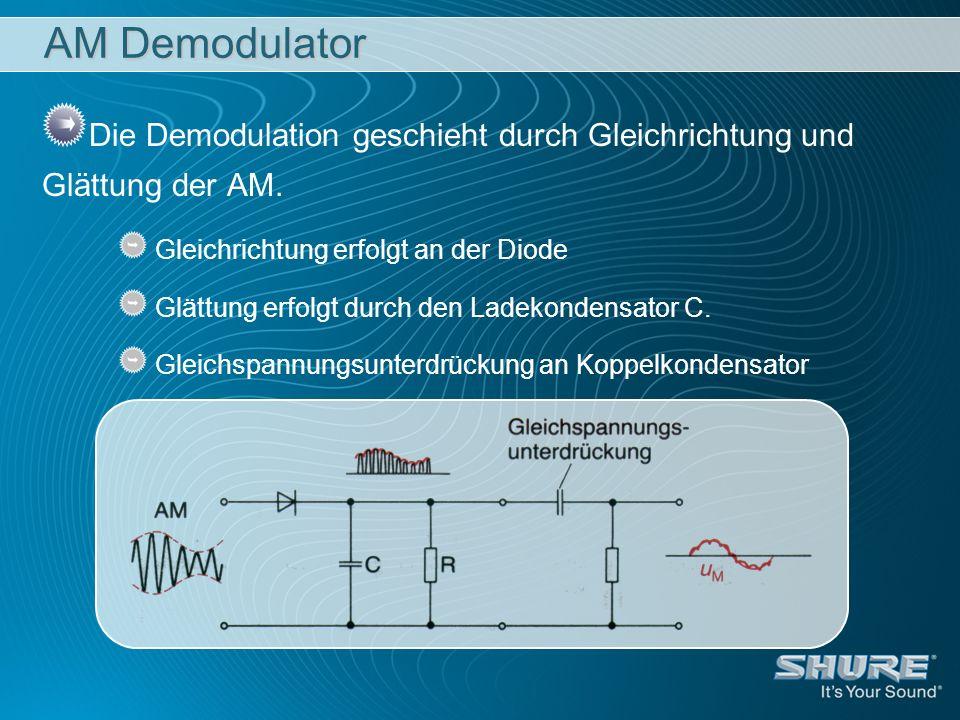 AM Demodulator Die Demodulation geschieht durch Gleichrichtung und Glättung der AM. Gleichrichtung erfolgt an der Diode Glättung erfolgt durch den Lad