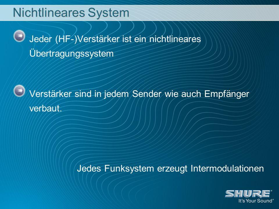 Nichtlineares System Jeder (HF-)Verstärker ist ein nichtlineares Übertragungssystem Verstärker sind in jedem Sender wie auch Empfänger verbaut. Jedes