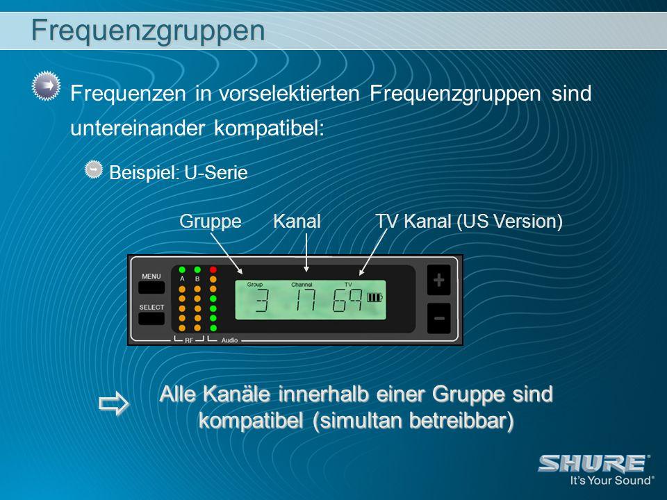 GruppeKanalTV Kanal (US Version) Frequenzgruppen Frequenzen in vorselektierten Frequenzgruppen sind untereinander kompatibel: Beispiel: U-Serie Alle K