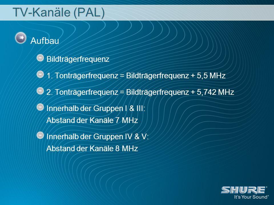TV-Kanäle (PAL) Aufbau Bildträgerfrequenz 1. Tonträgerfrequenz = Bildträgerfrequenz + 5,5 MHz 2. Tonträgerfrequenz = Bildträgerfrequenz + 5,742 MHz In