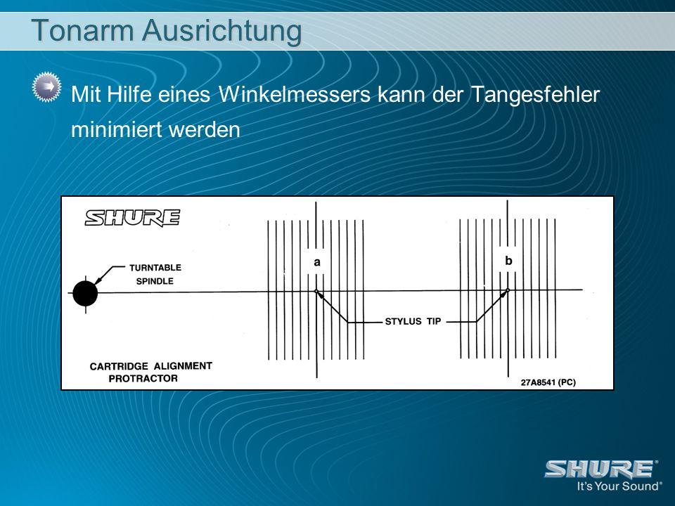 Tonarm Ausrichtung Mit Hilfe eines Winkelmessers kann der Tangesfehler minimiert werden
