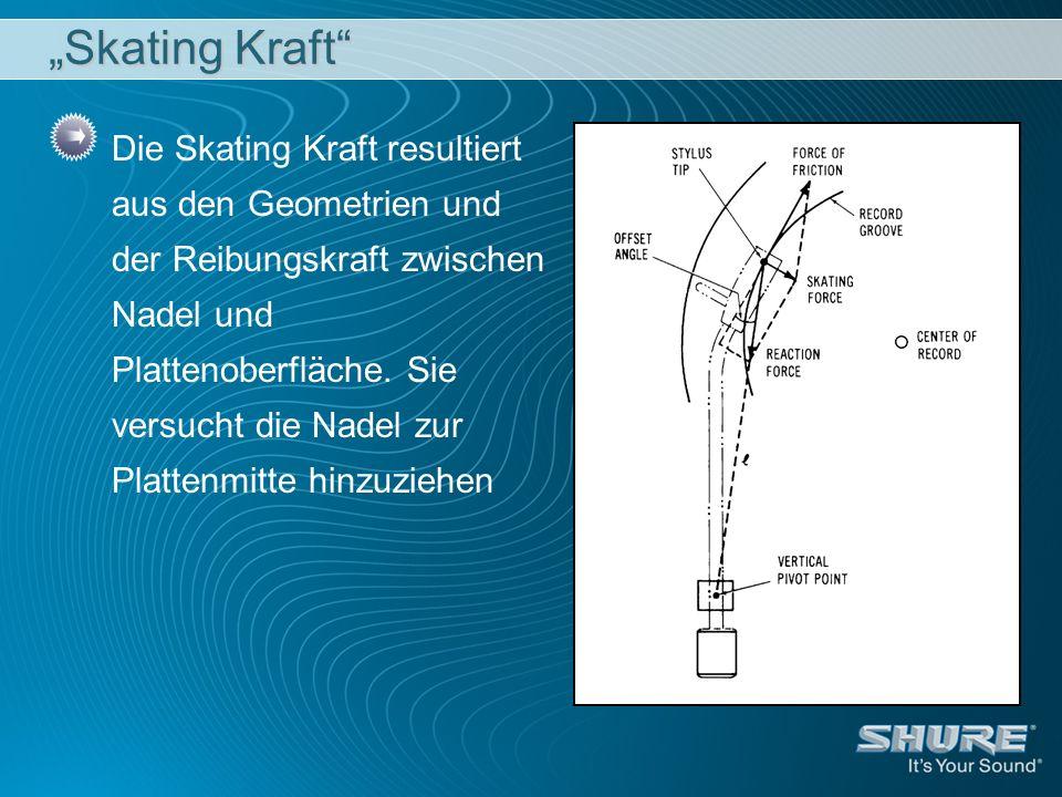 Skating Kraft Die Skating Kraft resultiert aus den Geometrien und der Reibungskraft zwischen Nadel und Plattenoberfläche. Sie versucht die Nadel zur P