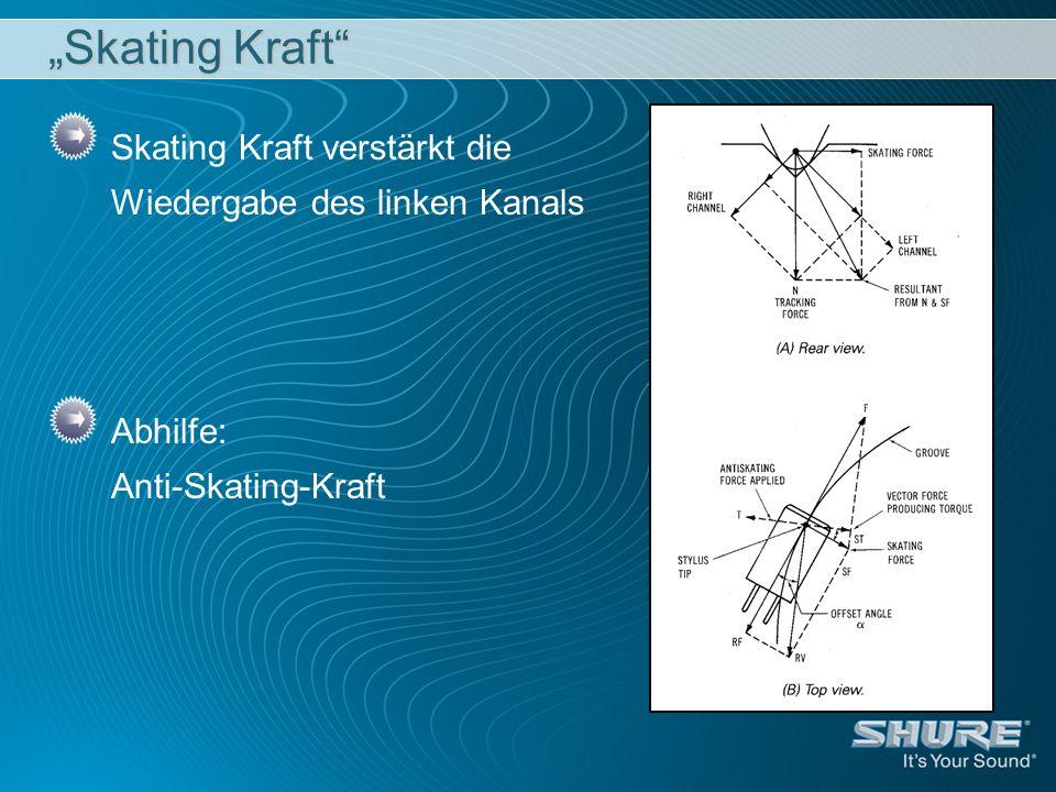 Skating Kraft Skating Kraft verstärkt die Wiedergabe des linken Kanals Abhilfe: Anti-Skating-Kraft