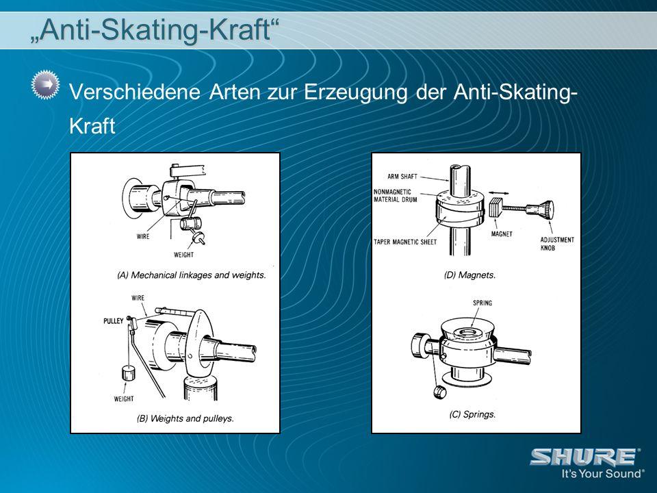 Anti-Skating-Kraft Verschiedene Arten zur Erzeugung der Anti-Skating- Kraft