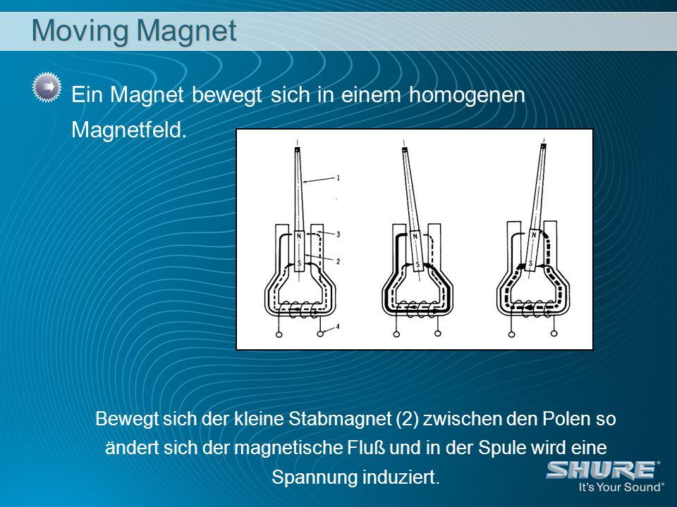 Ein Magnet bewegt sich in einem homogenen Magnetfeld. Bewegt sich der kleine Stabmagnet (2) zwischen den Polen so ändert sich der magnetische Fluß und
