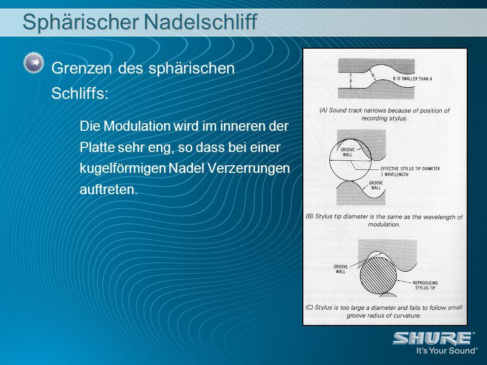 Sphärischer Nadelschliff Grenzen des sphärischen Schliffs: Die Modulation wird im inneren der Platte sehr eng, so dass bei einer kugelförmigen Nadel Verzerrungen auftreten.