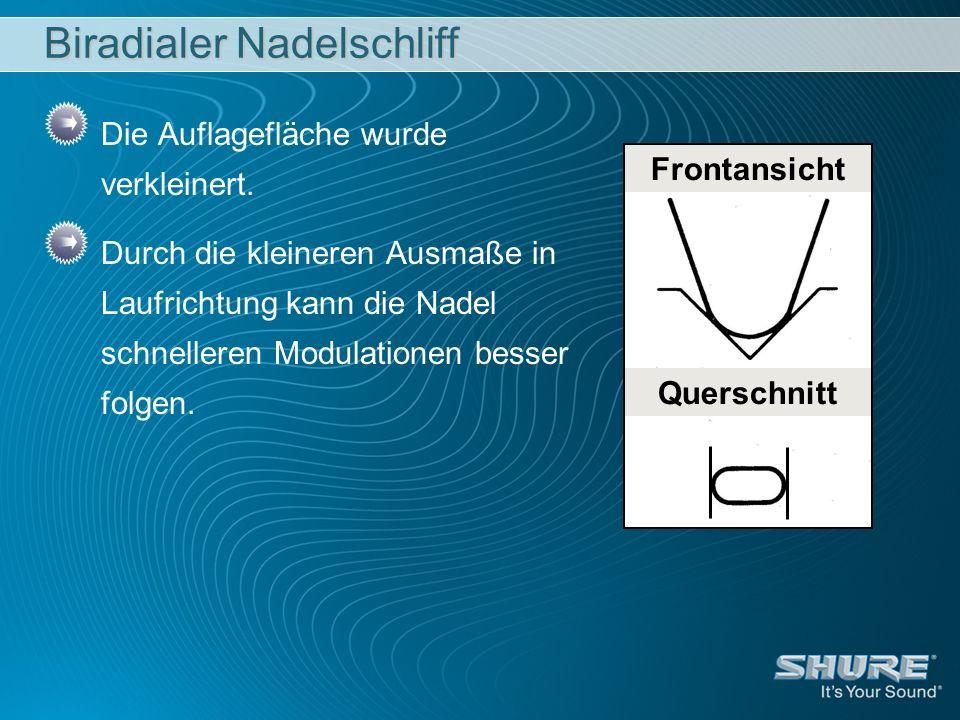 Biradialer Nadelschliff Die Auflagefläche wurde verkleinert.