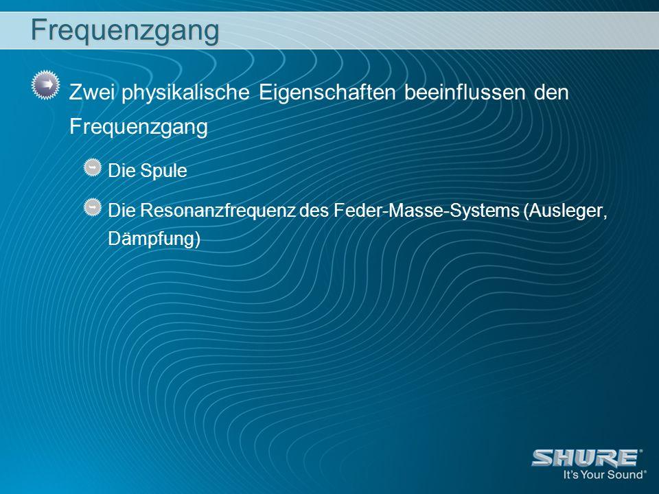 Frequenzgang Zwei physikalische Eigenschaften beeinflussen den Frequenzgang Die Spule Die Resonanzfrequenz des Feder-Masse-Systems (Ausleger, Dämpfung