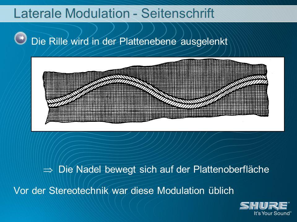 Laterale Modulation - Seitenschrift Die Rille wird in der Plattenebene ausgelenkt Die Nadel bewegt sich auf der Plattenoberfläche Vor der Stereotechnik war diese Modulation üblich