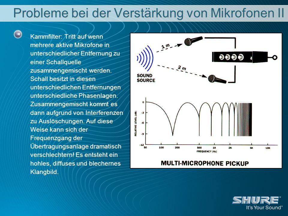 Probleme bei der Verstärkung von Mikrofonen II Kammfilter: Tritt auf wenn mehrere aktive Mikrofone in unterschiedlicher Entfernung zu einer Schallquel