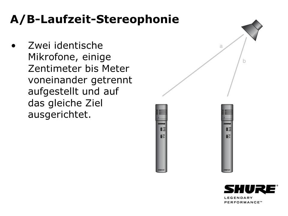 A/B-Laufzeit-Stereophonie Zwei identische Mikrofone, einige Zentimeter bis Meter voneinander getrennt aufgestellt und auf das gleiche Ziel ausgerichtet.