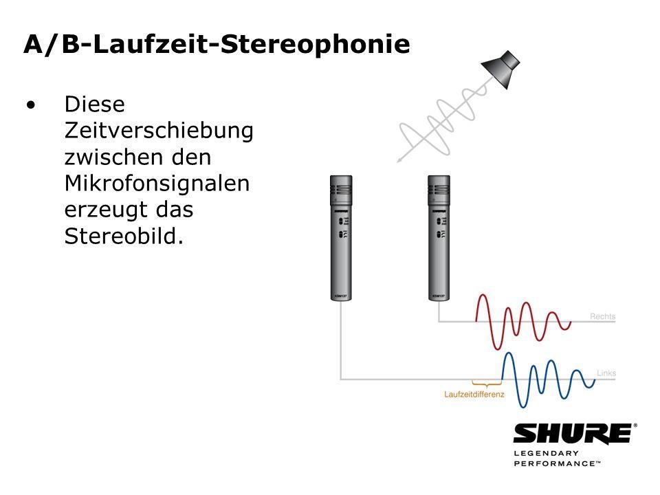 A/B-Laufzeit-Stereophonie Diese Zeitverschiebung zwischen den Mikrofonsignalen erzeugt das Stereobild.