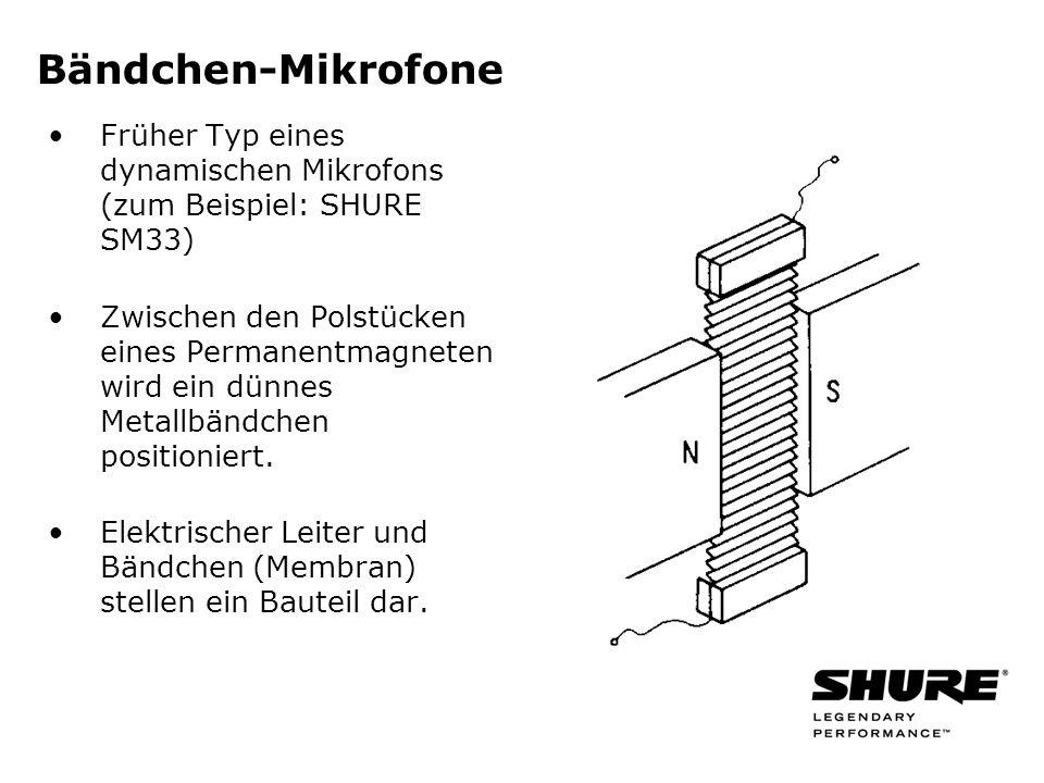 Bändchen-Mikrofone Früher Typ eines dynamischen Mikrofons (zum Beispiel: SHURE SM33) Zwischen den Polstücken eines Permanentmagneten wird ein dünnes Metallbändchen positioniert.