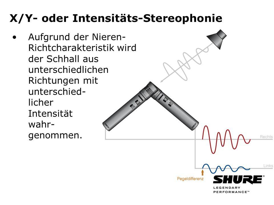 X/Y- oder Intensitäts-Stereophonie Aufgrund der Nieren- Richtcharakteristik wird der Schhall aus unterschiedlichen Richtungen mit unterschied- licher Intensität wahr- genommen.