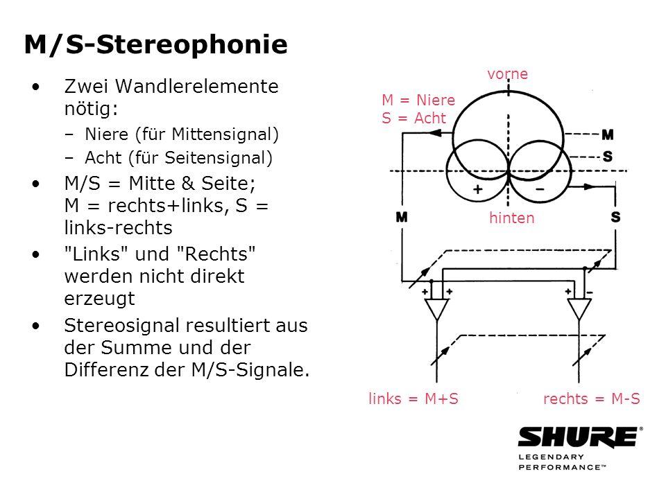 M/S-Stereophonie Zwei Wandlerelemente nötig: –Niere (für Mittensignal) –Acht (für Seitensignal) M/S = Mitte & Seite; M = rechts+links, S = links-rechts Links und Rechts werden nicht direkt erzeugt Stereosignal resultiert aus der Summe und der Differenz der M/S-Signale.